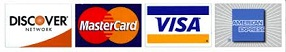 Accepted credit cards: Discover, MasterCard, Visa, American Express
